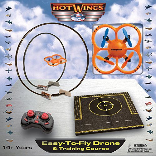 Hot Wings Easy-to-Fly Drone & Training Course Remote Control Drone,  Orange/Black